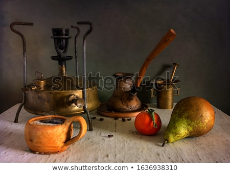 Ancient coffee grinder, mill and brass mortar Stock photo © gromovataya