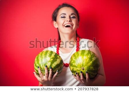 Nő tart dinnye boldog kék portré Stock fotó © photography33