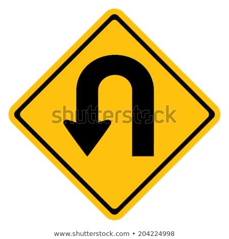 Jaune panneau routier tourner symbole isolé Photo stock © nikdoorg