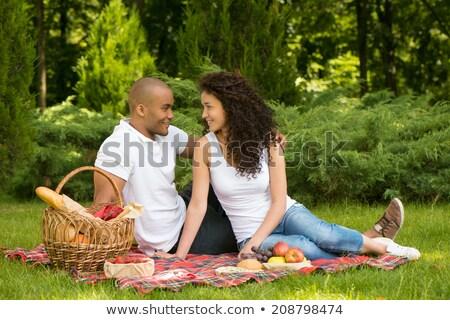 Foto stock: Casal · sessão · grama · fruto · cesta · comida