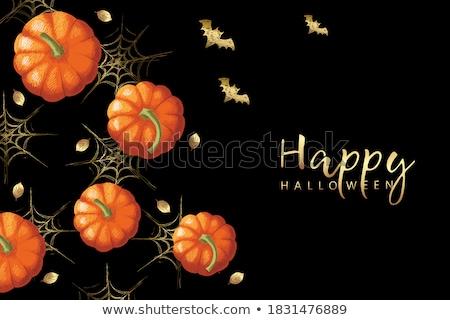 Stock photo: Halloween pumpkin with leafs
