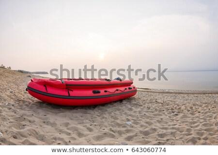 синий надувной лодка изолированный белый пути Сток-фото © ssuaphoto