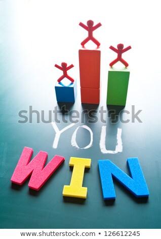 díj · vágány · lányok · rajz · érem · győzelem - stock fotó © ansonstock
