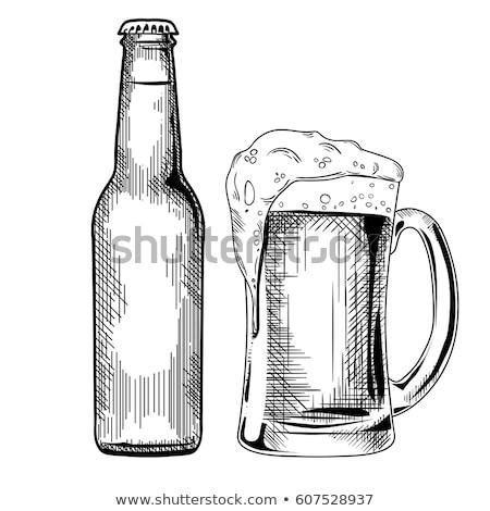 Bottiglia birra ramo hop verde isolato Foto d'archivio © Grazvydas