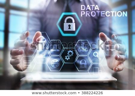 adatvédelem · gomb · narancs · számítógép · billentyűzet · 3d · render · technológia - stock fotó © tashatuvango