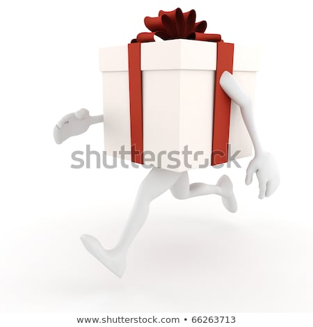 3d present box with arms and legs, running like hell  Stock photo © digitalgenetics