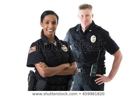 Polis memuru dur işareti adam tabanca hukuk Stok fotoğraf © vwalakte