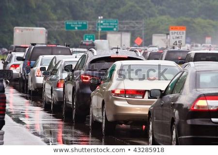 Conducción lluvia atasco de tráfico coche parabrisas espejo Foto stock © blasbike