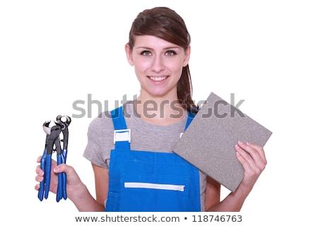 casa · azulejos · trabalhador · limpeza · telha - foto stock © stevanovicigor