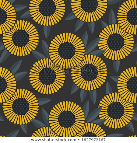 Foto stock: Abstrato · girassóis · flores · sem · costura · amarelo · verde