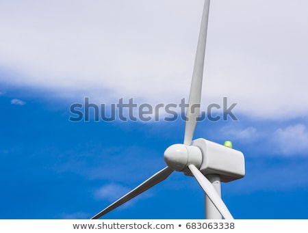 Windmolen macht generator groen gras blauwe hemel hemel Stockfoto © snyfer
