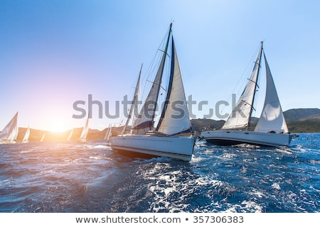 boat race on mediterranean water sailboat stock photo © lunamarina