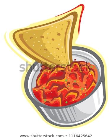 плоская маисовая лепешка чипов Сальса обеда белый мексиканских Сток-фото © M-studio