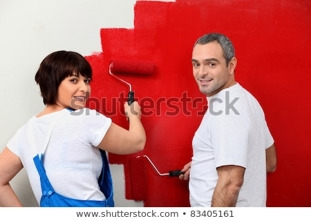 mujer · pintura · pared · rojo · diseno · pintura - foto stock © photography33