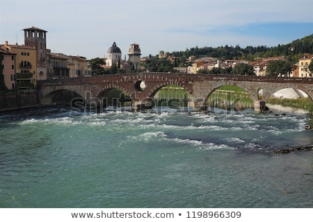 view of adige river and saint peter bridge in verona veneto it stock photo © anshar