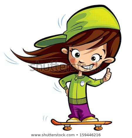Happy cute girl on a skateboard making a thumbs up gesture Stock photo © Thodoris_Tibilis