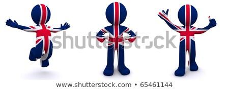 3d · man · groot-brittannië · vlag · geïsoleerd · witte · wereldbol - stockfoto © kirill_m