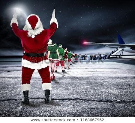 Navidad · avión · dibujado · a · mano · ilustración · cielo - foto stock © hasloo