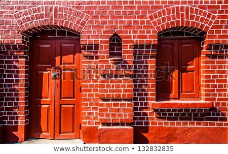 古い · レンガ · 壁 · 歴史的 · 住宅 · 典型的な - ストックフォト © meinzahn