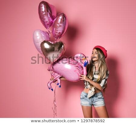 szőke · nő · lány · léggömbök · háziasszony · pózol · stúdió - stock fotó © konradbak
