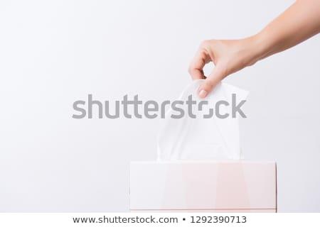 Kéz papírzsebkendő közelkép húz ki doboz Stock fotó © jackethead