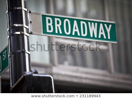 Broadway poste de sinalização vetor escritório nuvens edifício Foto stock © burakowski