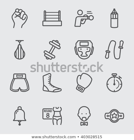 boxe · icône · emblème · rouge · deux - photo stock © vectorpro