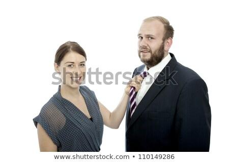 молодые брюнетка женщину борода деловой человек Сток-фото © sebastiangauert