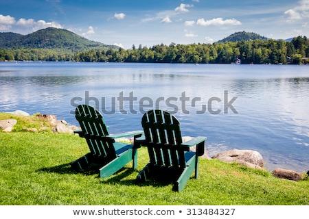Lounge стульев горные озеро облачный день Сток-фото © Frankljr