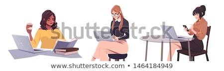 beautiful woman writing vector illustration stock photo © carodi