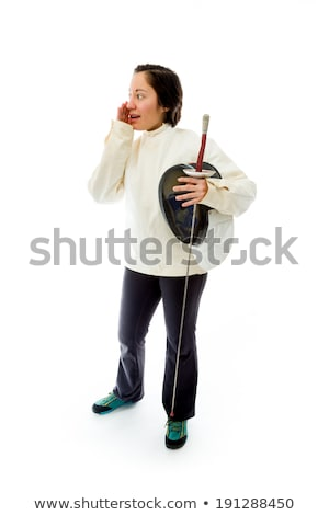 female fencer whispering stock photo © bmonteny