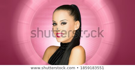 Happy smile from beautiful Latino girl in red top Stock photo © darrinhenry