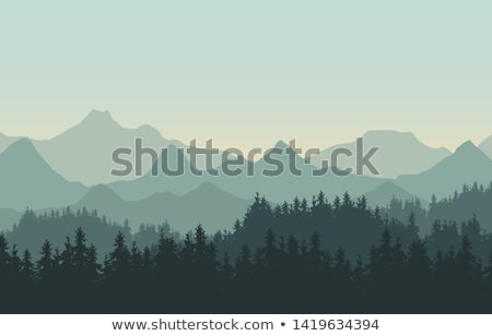 Panorama  of mountain ridges silhouettes stock photo © alex_grichenko