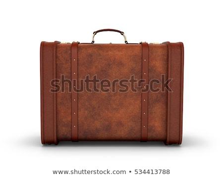 Retro bőrönd izolált fehér fa utazás Stock fotó © gemenacom
