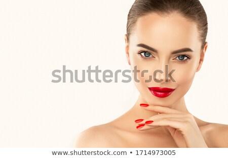 vrouw · manicure · rode · lippen · lippenstift · meisje - stockfoto © Stephanie_Zieber