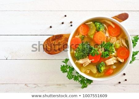 groentesoep · kom · brood · rollen · lepel - stockfoto © sarahdoow
