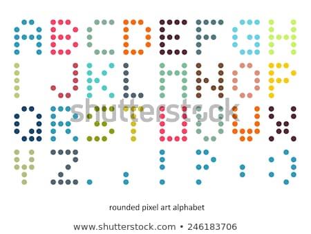 Pixel művészet ábécé betűtípus pasztell színek Stock fotó © slunicko
