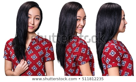 Beautiful happy adult woman with black straight hair Stock photo © lubavnel