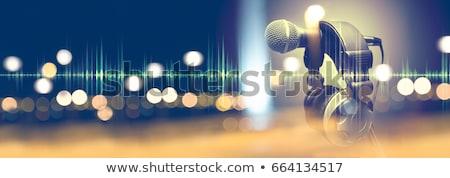 Musical retro mikrofon hangjegyek rádió kommunikáció Stock fotó © gladcov
