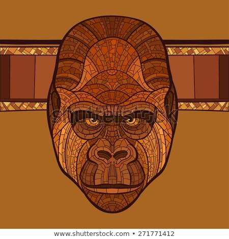 mérges · emberszabású · majom · rajz · őrült · vektor - stock fotó © ulyankin