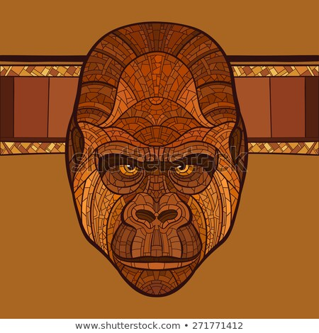 Ape gorille tête ethniques ornement pas Photo stock © ulyankin