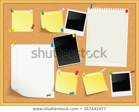 vector illustration of a cork bulletin board with notes and photos stock photo © bytedust