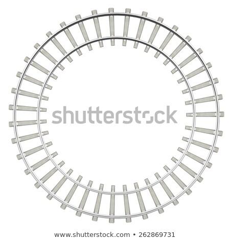 Cirkel spoorweg geïsoleerd witte top Stockfoto © ZARost