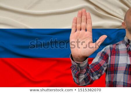 Stop Russia open mano segno verniciato Foto d'archivio © tashatuvango