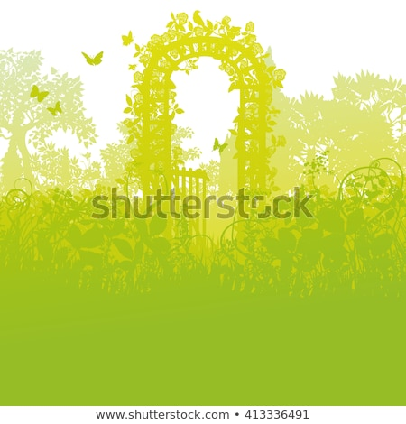 Hollyhock and gate of roses the enchanted garden Stock photo © Ustofre9