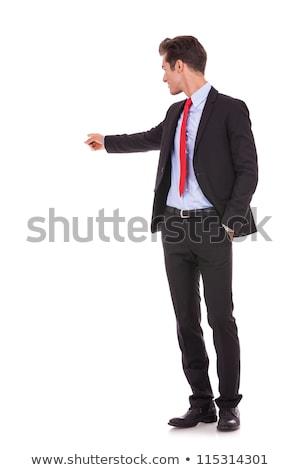 小さな · ビジネスマン · ポインティング · 孤立した · 白 · 背景 - ストックフォト © wavebreak_media
