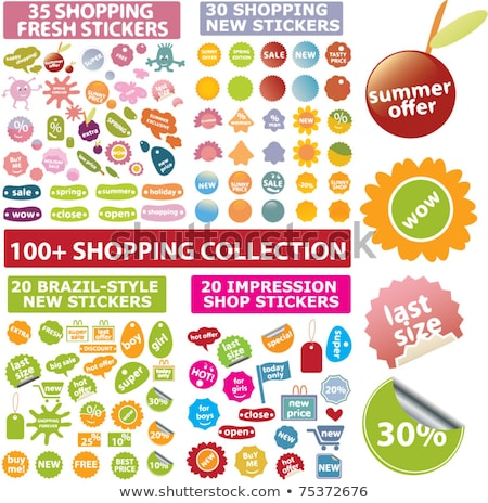 Shopping Sign Square Vector Pink Icon Design Set Stock photo © rizwanali3d