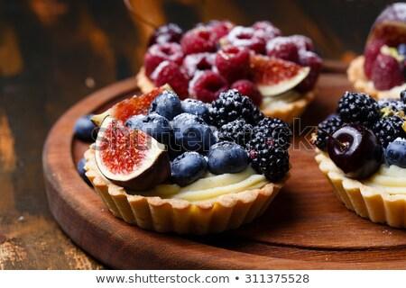 Vla taart frambozen bramen witte Stockfoto © aladin66