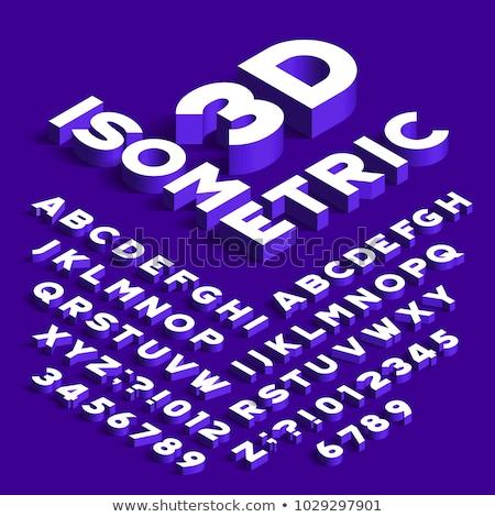 Stock photo: Isometric Alphabet and Numbers