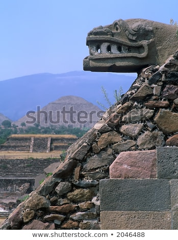 Ancient Indian Sculpturel Ruins Teotihuacan Mexico City Mexico Stock photo © billperry